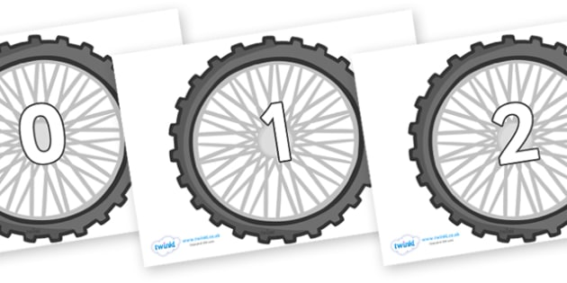 Numbers 0-50 on Bike Wheels - 0-50, foundation stage numeracy, Number recognition, Number flashcards, counting, number frieze, Display numbers, number posters