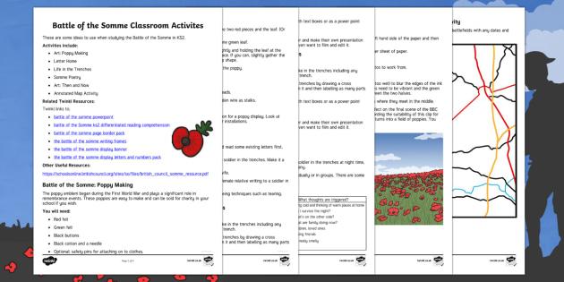 Battle of the Somme KS2 classroom activities