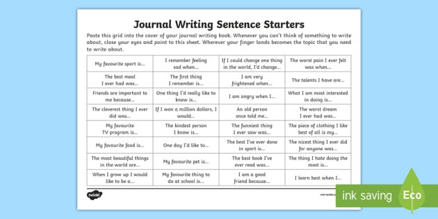 Journal writing sentence starters Activity Sheet - journal, journal writing, writing, inspiration,Australia