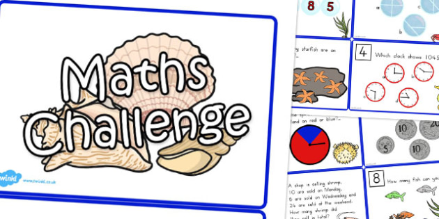 Great Barrier Reef Themed Maths Challenge Cards - australia, reef