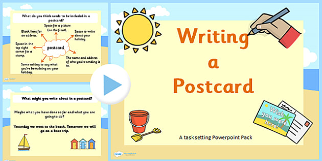 How to Write a Postcard PowerPoint Task Setter - KS1 Writing Lessons