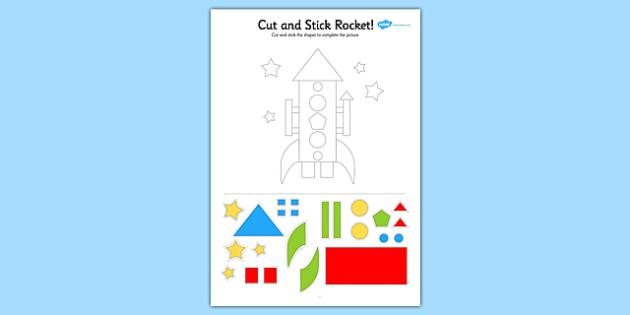 Colourful Rocket Cut and Stick Activity - cut, stick, cutting, rocket, space, cutout