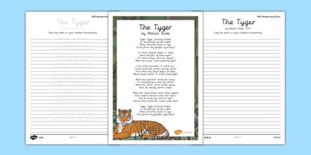 The Tyger Handwriting Poem Pack - the tyger, handwriting, poetry, poem pack