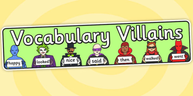 Vocabulary Villains Display Banner - vocabulary villians, display banner, banner, header, banner display, display header, header display, classroom display