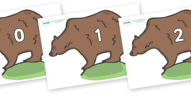 Numbers 0-31 on Bears - 0-31, foundation stage numeracy, Number recognition, Number flashcards, counting, number frieze, Display numbers, number posters