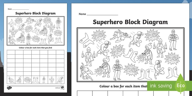 Superhero Themed Block Diagram Activity Sheet - superhero, block diagram, block, diagram, graph, activity