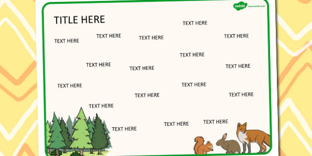 Forest and Woodland Themed Editable Word Mat - literacy, words