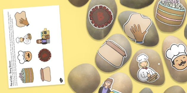Pat-a-Cake Story Image Cut Outs - Story stones, stone art, painted rocks, Nursery Rhymes, song