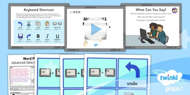 Computing: Microsoft Word Skills: Advanced Select and Key Year 3 Lesson Pack 5