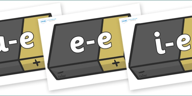 Modifying E Letters on Batteries - Modifying E, letters, modify, Phase 5, Phase five, alternative spellings for phonemes, DfES letters and Sounds