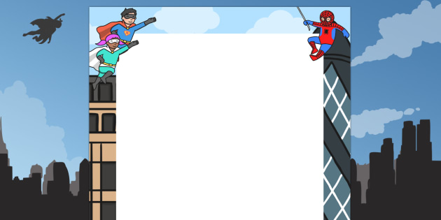 Superheroes Decorative Page Border - superheroes, page, border