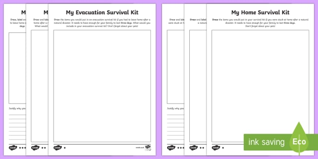 Design Your Own Emergency Kit Activity Sheets - New Zealand Natural Disasters, earthquake, tsunami, volcano, monsoon, hurricane, flood, tornado, eva