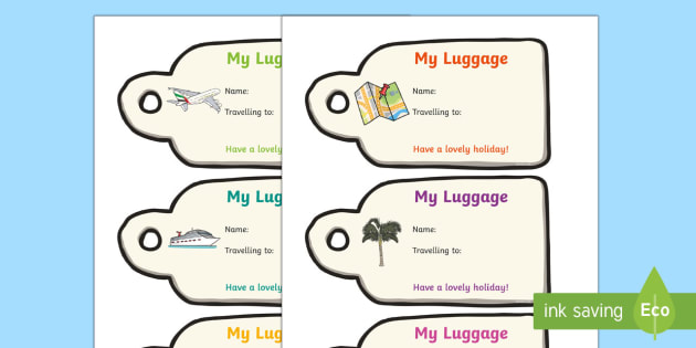 Holiday Luggage Labels - Holiday, luggage, label, baggage, airport, role play, pack, roleplay, holidays, flight, timetable, airports, plane, jet, arrivals, departures, pilot, summer, sun, sand