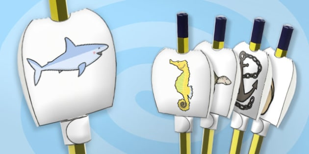 Under the Sea Pencil Toppers - paper, pencil, tops, puppet, party