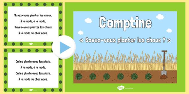 Savez-vous planter des choux ? Nursery Rhyme PowerPoint - french, nursery rhyme, savez-vous planter des choux, powerpoint