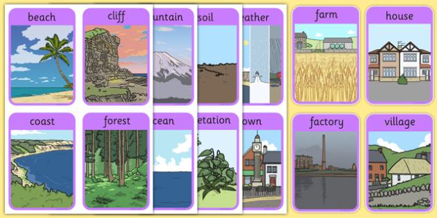 KS1 Geography Keyword Flash Cards - ks1, geography, key words, flash cards