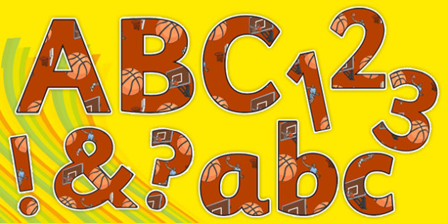 Rio 2016 Basketball Display Letters and Numbers Pack - rio 2016, 2016 olympics, rio olympics, basketball, display, letters, numbers, pack