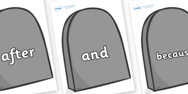 Connectives on Grave Stones - Connectives, VCOP, connective resources, connectives display words, connective displays