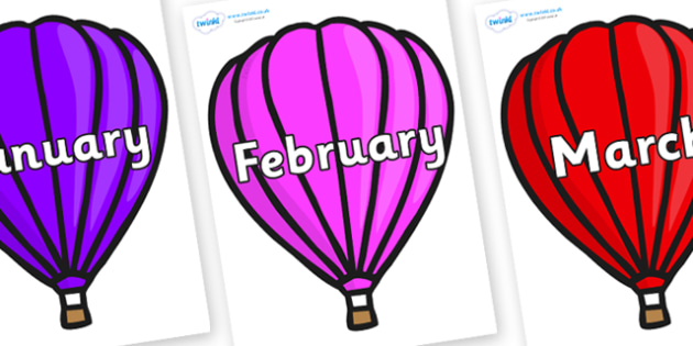 Months of the Year on Hot Air Balloons (Plain) - Months of the Year, Months poster, Months display, display, poster, frieze, Months, month, January, February, March, April, May, June, July, August, September