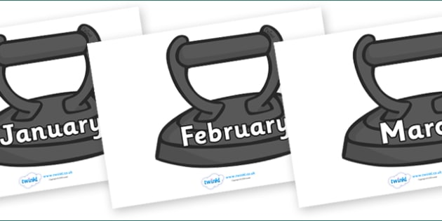 Months of the Year on Irons - Months of the Year, Months poster, Months display, display, poster, frieze, Months, month, January, February, March, April, May, June, July, August, September
