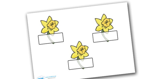 Editable Self Registration Labels (Daffodils) - Display, daffodil editable, label, topic,Welsh, Dewi sant, St David, daffodil, Wales, cymru, leek, parade, patron saint