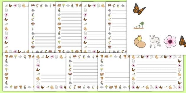 Spring Page Borders - Spring, Page border, border,  KS1, writing Borders, lambs, daffodils, new life, flowers, buds, plants, growth