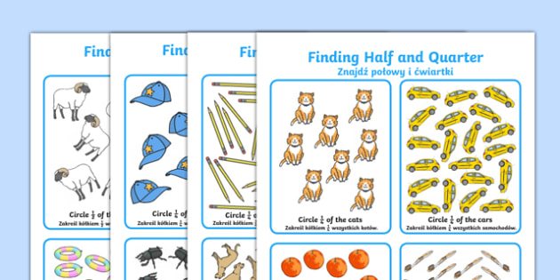 Finding Half and Quarter Activity Sheet Polish Translation - polish, KS1 Maths, half, quarter, whole, part of, find, solve, divided, shared, grouped, year 1, year 2, fractions, worksheet