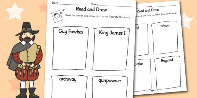 The Gunpowder Plot Read and Draw Worksheet - read, draw, sheet