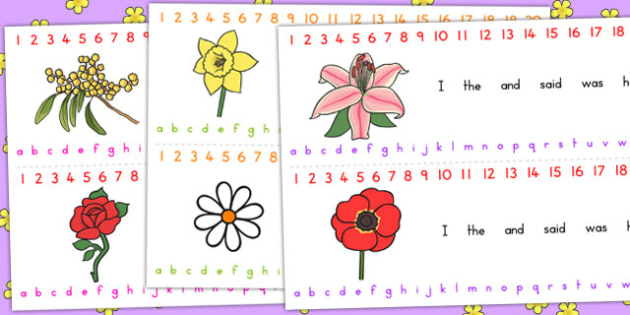 Flower Themed Number and Alphabet Strips - Australia, Flower