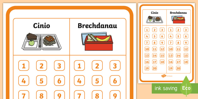 School Dinner and Packed Lunch Display Poster- Welsh - Welsh Second Language Display Resources, Welsh Display, Welsh, EAL, Brechdanau