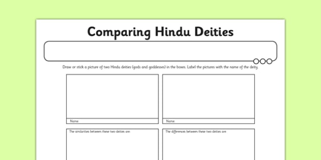 Hinduism Activity Sheet Comparing Hindu Deities - hinduism, deities, gods, goddesses, worship, ks2, key stage 2, re, worksheet