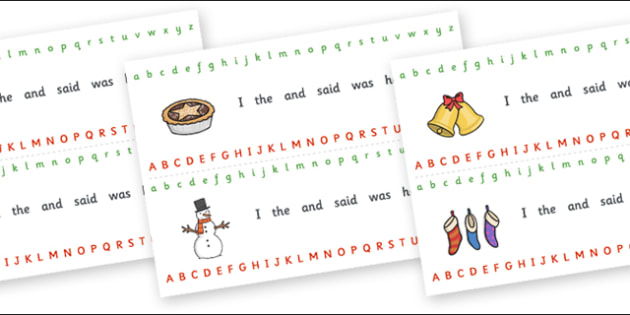 Christmas Alphabet Strips - Christmas, xmas, Alphabet, Writing aid, tree, advent, nativity, santa, father christmas, Jesus, tree, stocking, present, activity, cracker, angel, snowman, advent , bauble, Writing Area