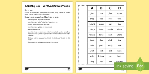 Squashy Boxes Verbs, Adjectives and Nouns Craft - NI - Literacy Warm Ups and Revision, warm up, verbs, adjectives, nouns, syllables, activities.