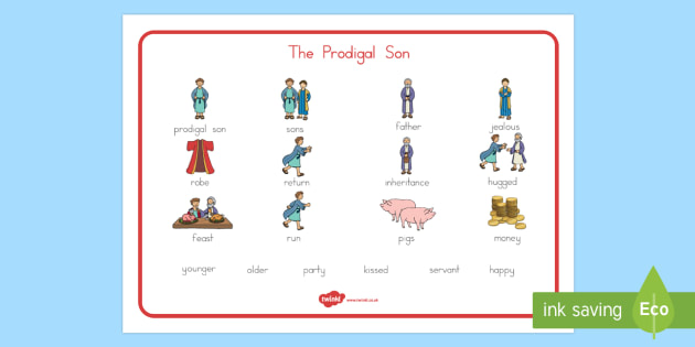 The Prodigal Son Word Mat - usa, america, The Prodigal Son, son, father, prodigal, the lost son, lost, word mat, writing aid, mat, coming back, father and son, jealous, pigs, inheritance, return, party, feast
