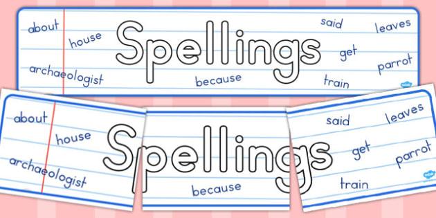 Spellings Display Banner - australia, spelling, display, banner