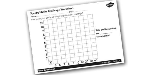 Speedy Maths Challenge Worksheet 2 - maths challenge, maths challenge worksheet, times tables, times tables challenge, timed maths challenge, ks2 numeracy