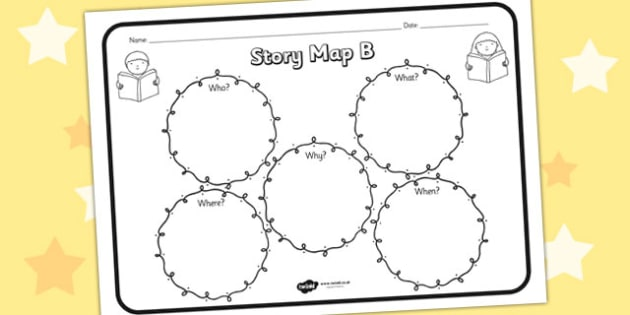 Story Map B Worksheet - story map B, story, stories, story map, story map worksheet, map stories, story worksheets, worksheets, literacy, english, reading