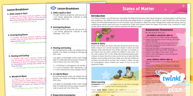 Science: States of Matter Year 4 Planning Overview CfE