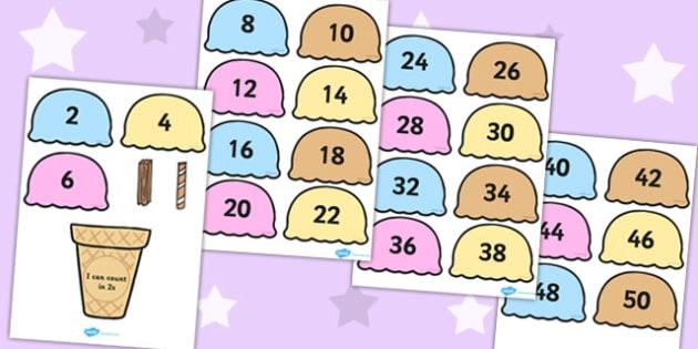 Counting in 2s Ice Cream Cone Ordering Activity - Ice, Cream