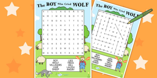 The Boy Who Cried Wolf Wordsearch - Aesop's fables, stories
