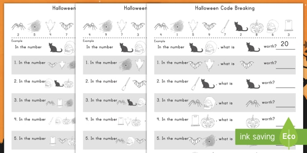 Halloween Place Value Codebreaking Activity Pack - Halloween, place value, codebreaking, activity pack, math