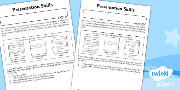 PowerPoint Presentation Skills: Home Learning Tasks - Year 2 Computing Lesson Pack