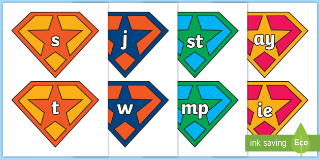 Phase 2 to 5 Phonemes on Superhero Badge Cut-Outs - Phase 2 to 5 Phonemes on Superhero Badge Cut-Outs - phase 3, phase 3 sounds, phase 3 phonemes, phone