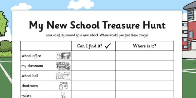 My New School Treasure Hunt - new school, treasure hunt, hunt
