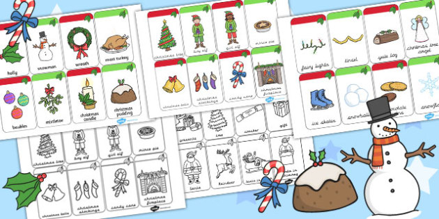 Christmas Flashcards - visual, aid, festivities, literacy, words