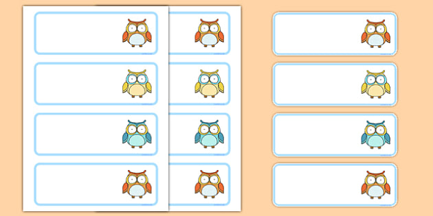 Cute Owl Themed Drawer Peg Name Labels - cute owl, drawer, peg, name, labels, display