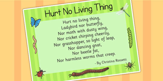 Hurt No Living Thing Christina Rossetti Poster - poem, poetry