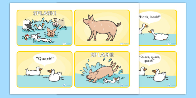 Story Sequencing (4 per A4) to Support Teaching on Pig in the Pond - Pig in the Pond, Martin Waddell, resources, Very Hot Day, Neligan, Neligan's pig, ducks, geese, pond, animals, story, story book, story book resources, story sequencing, story resou
