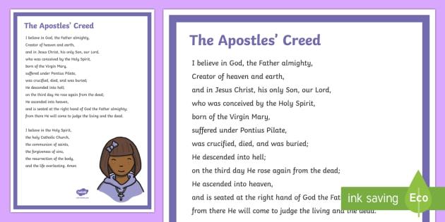 The Apostles' Creed Display Poster - Classroom Management and Organization, religion, prayer, prayer table, Christian, Catholic.