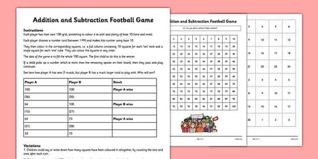 Addition and Subtraction Football Game - addition, subtraction, football, game, activity